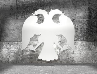 two headed eagle icon in concrete room