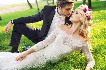 Romantic portrait of the marriage couple