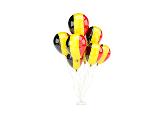 Flying balloons with flag of belgium