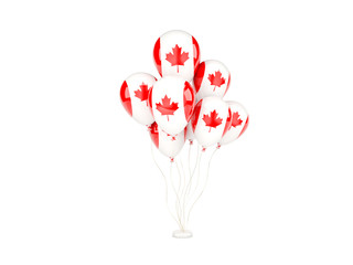 Flying balloons with flag of canada
