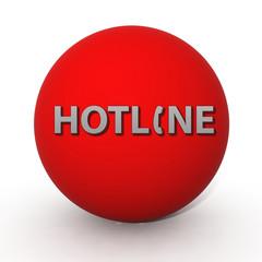 Hotline circular icon on white background