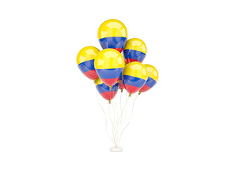 Flying balloons with flag of colombia