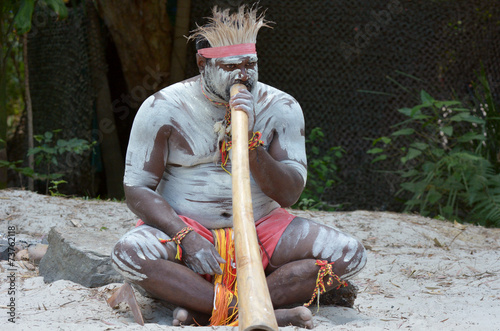 Leinwanddruck Bild Aboriginal culture show in Queensland Australia