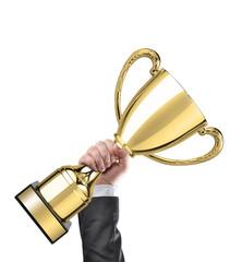 Businessman holding a golden cup trophy