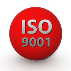 Iso 9001 circular icon on white background