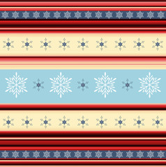 Christmas stripy background with snowflakes