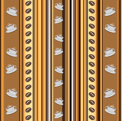 Cups of coffee vertical stripy background with coffee beans