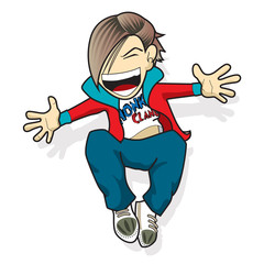 Cartoon man jumping with happy face