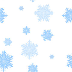 Seamless background of blue crystal snowflakes.