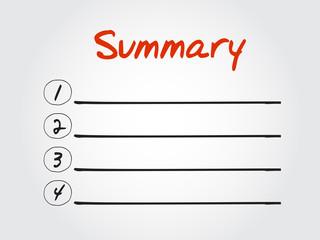 Blank Summary list, vector concept background