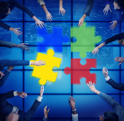 Jigsaw Puzzle Support Team Coopeartion Togetherness Unity Concep