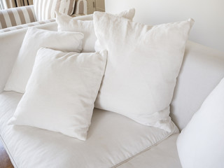Pillows on sofa home interior decoration