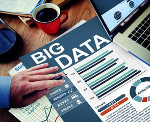 Big Data Businessman Working Calculating Thinking Planning