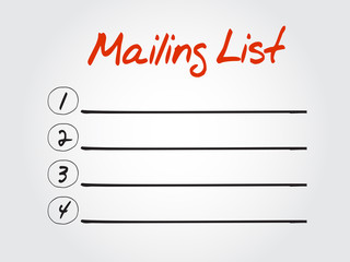 Blank Mailing list, vector concept background