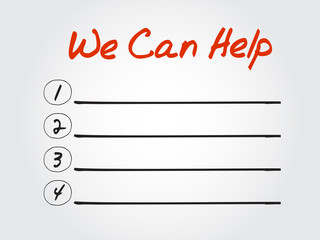 Blank We Can Help list, vector concept background