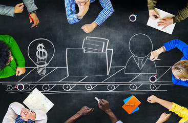 Blackboard Brainstorming Planning Meeting Strategy Concept
