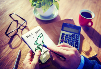 Businessman Writing Planning Goal Success Concept