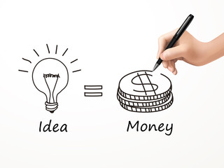 idea is money icon drawn by human hand