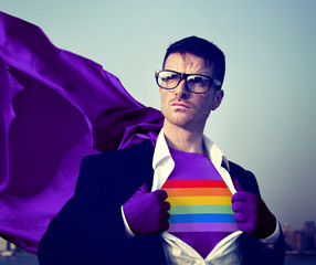 Rainbow Strong Superhero Success Empowerment Concept