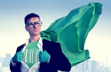 Barcode Strong Superhero Professional Empowerment Concept
