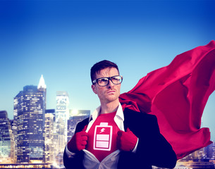 Battery Strong Superhero Success Empowerment Concept