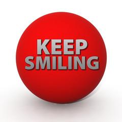 Keep smiling circular icon on white background