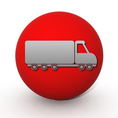 Truck circular icon on white background