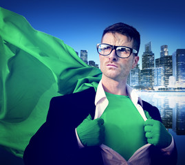 Strong Superhero Professional Leadership Business Victory Concep