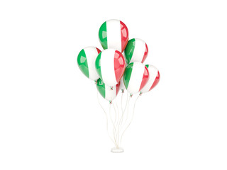 Flying balloons with flag of italy