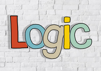 Logic Brick wall Single Word Text Background Clean Concept