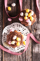 easter cupcake with buttercream and eggs