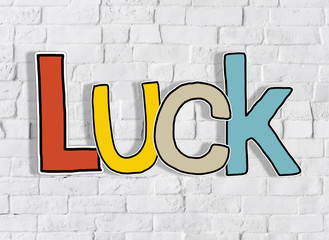 Luck Brick wall Single Word Text Background Clean Concept