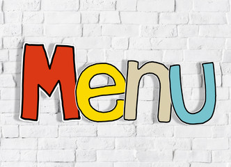 Menu Brick wall Single Word Text Background Clean Concept