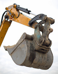 bucket of a bulldozer during the roadworks