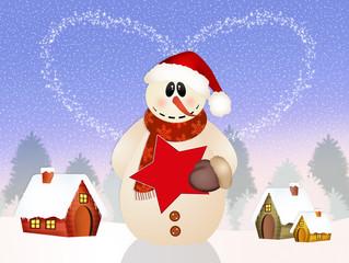 Snowman in winter landscape