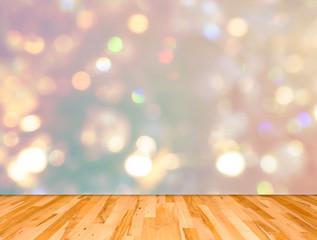 Wood plank floor and bokeh background