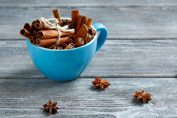 Bundle of cinnamon  with anise in a cup