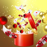 Christmas gift with balls, casino  chips and coins
