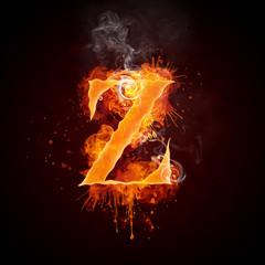 Fire Swirl Letter Z