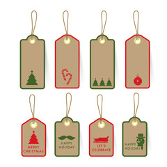 Collection of Christmas card Tag and Label on paper with element