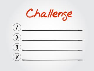 Blank Challenge list, vector concept background