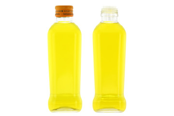 Glass bottles of Olive Oil with mild taste isolated on white