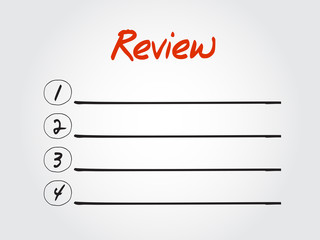 Blank Review list, vector concept background