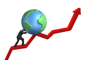 businessman pushing globe upward on red trend line