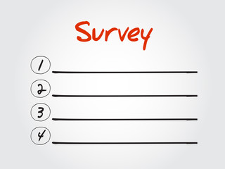Blank Survey list, vector concept background