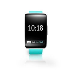 black glass curved screen smartwatch with bright blue watchband