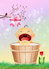 baby girl in the bucket