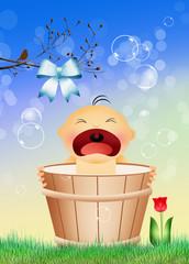 baby in the bucket