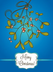 Blue Christmas card with branch of mistletoe