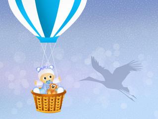 baby on hot air balloon